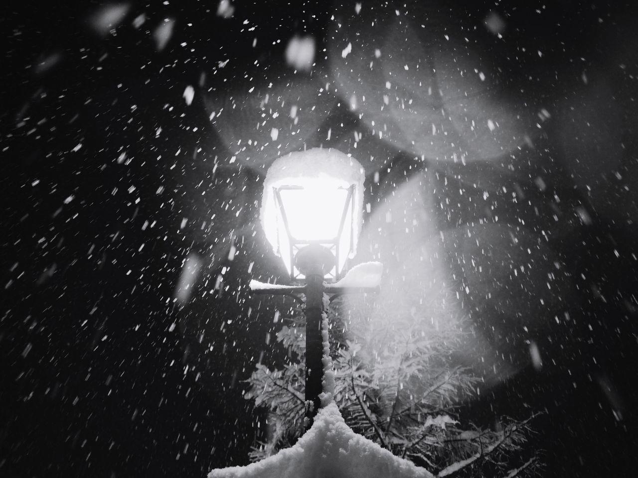 Cold Temperature Close-up No People Winter Snowing Illuminated Outdoors Night Blackandwhite Black & White Blackandwhite Photography Snow at Leukerbad Switzerland