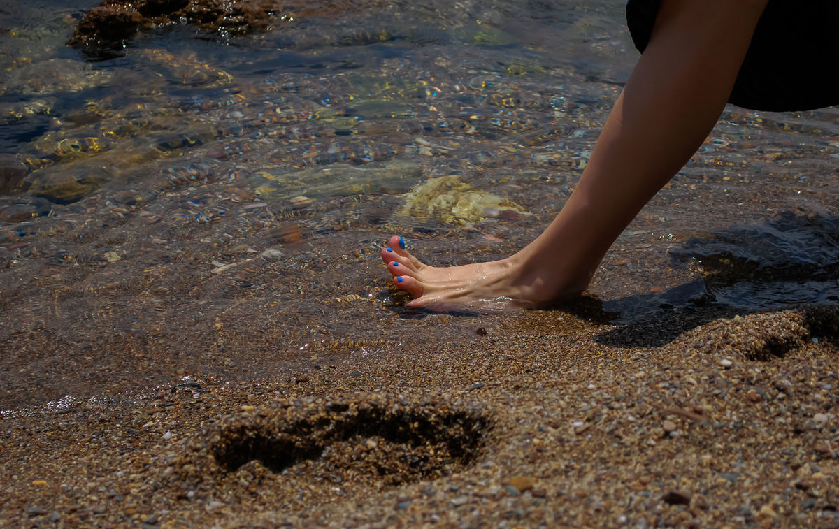 relief.. Beach Day Foot Human Body Part Human Leg Leg Lifestyles Low Section Nature One Person Outdoors People Real People Relief In Summer Sand Sea Water
