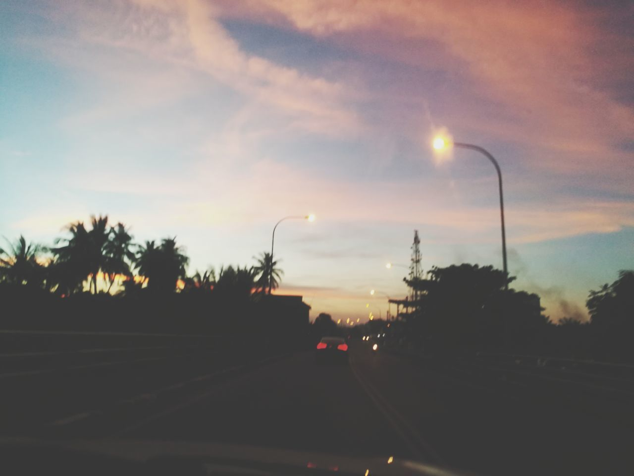 Car Transportation Road Tree Travel Highway Driving Sunset Traffic Mode Of Transport Maghrib Time Kelantan Malaysia The Way Forward Outdoors Land Vehicle Sunset_collection No People Cloud - Sky Sky Illuminated Night
