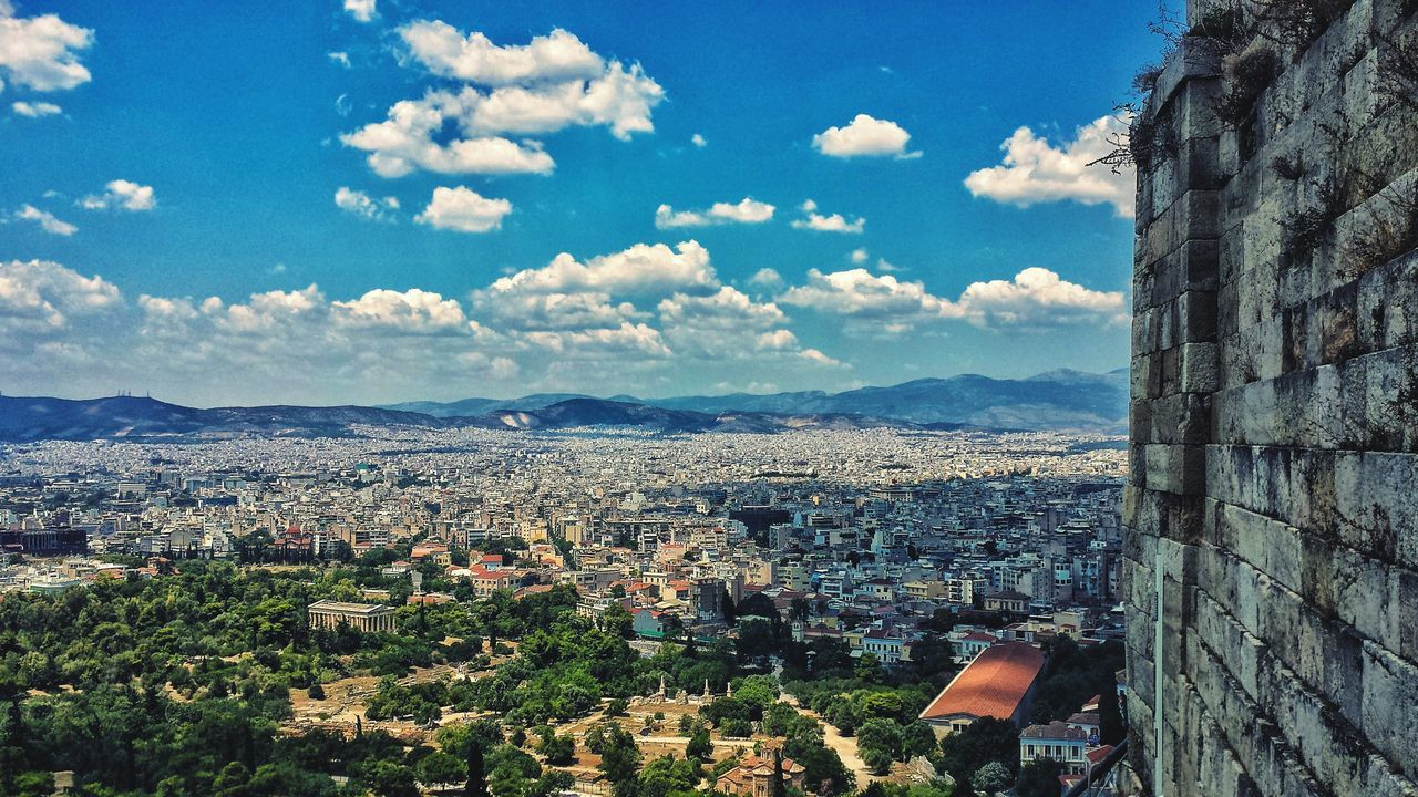 Athens Greece Cloudshadows Blue Sky Europe Southern Europe Outdoors Shadow Afternoon Sunshine Clouds High Angle City Cityscape Urban Downtown Acropolis Greek Hellas Ancient Ruins History Attica