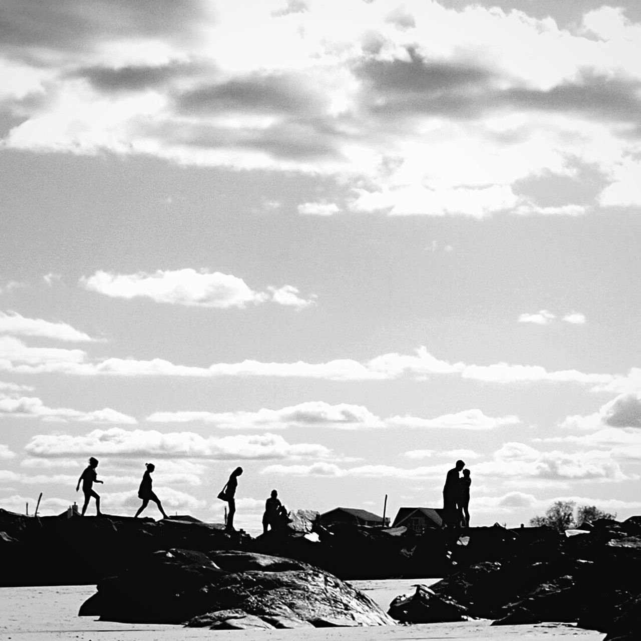 Sky Leisure Activity Real People Outdoors Cloud - Sky People Blackandwhite EyeEmNewHere Beach Hampton Beach USA New Hampshire Silhouette Long Goodbye