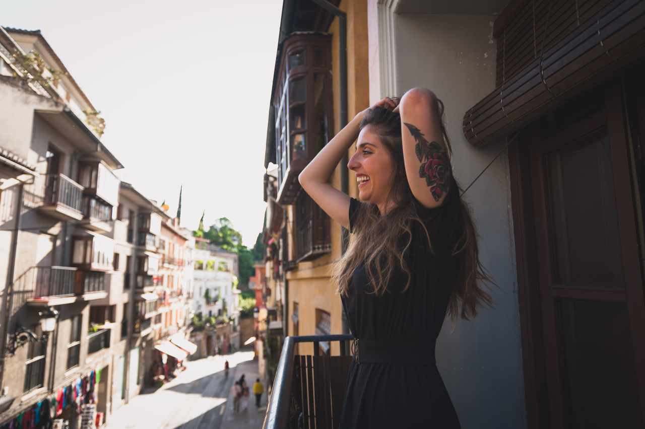 Beautiful stock photos of tattoo, 30-34 Years, Architecture, Balcony, Beautiful Woman