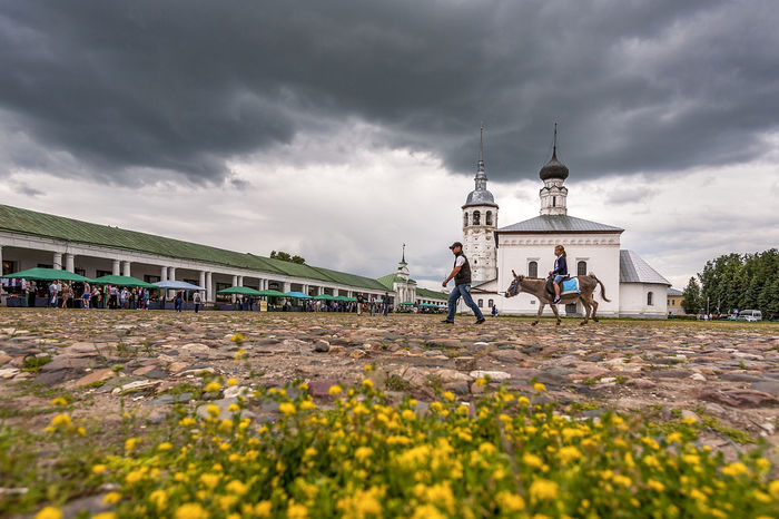 Architecture Building Exterior Built Structure Cloud Cloud - Sky Cloudy Field Flower Leisure Activity Lifestyles Men Nature Overcast Person Plant Real People Rear View Russia Sky Suzdal Walking