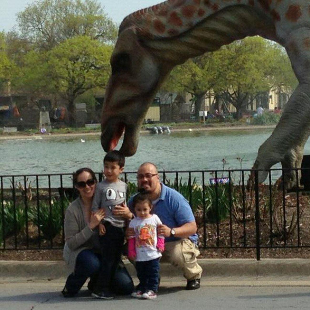 Dinosaur eating my nephew at the Zoo . Photobombed