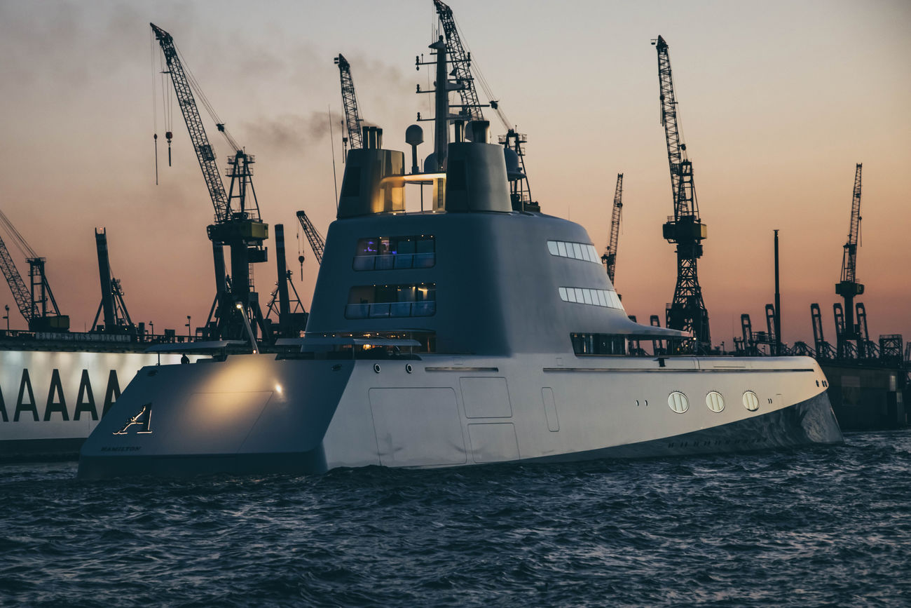 """The """"atomic"""" boat by www.eightTWOeightSIX.de Boat Ship Hamburg Crane Waterfront Industry Commercial Dock Harbor Cloud Water Shipping  Sky Outdoors Yacht Billionaire  Rich Money Sunset Night River Hamburg Harbour Elbe Evening Hamburger Hafen Germany"""
