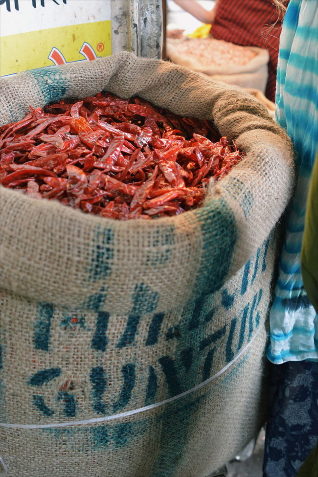 Chillies Dried Market Market Stall Market Vendor Red Sack Spicy Wrinkled