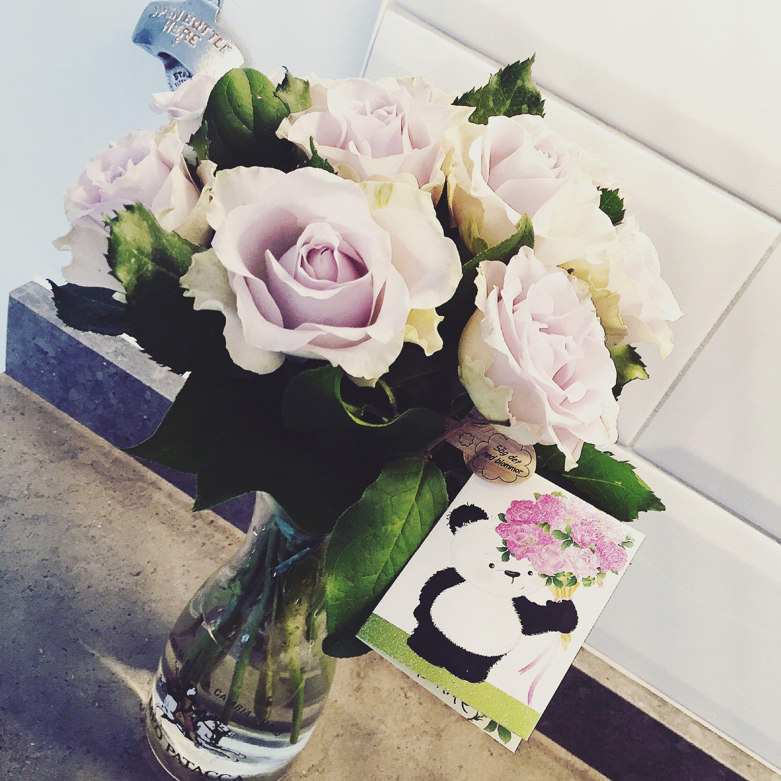 flower, indoors, vase, freshness, table, still life, fragility, petal, bouquet, decoration, variation, rose - flower, flower arrangement, flower head, bunch of flowers, pink color, high angle view, close-up, arrangement, multi colored