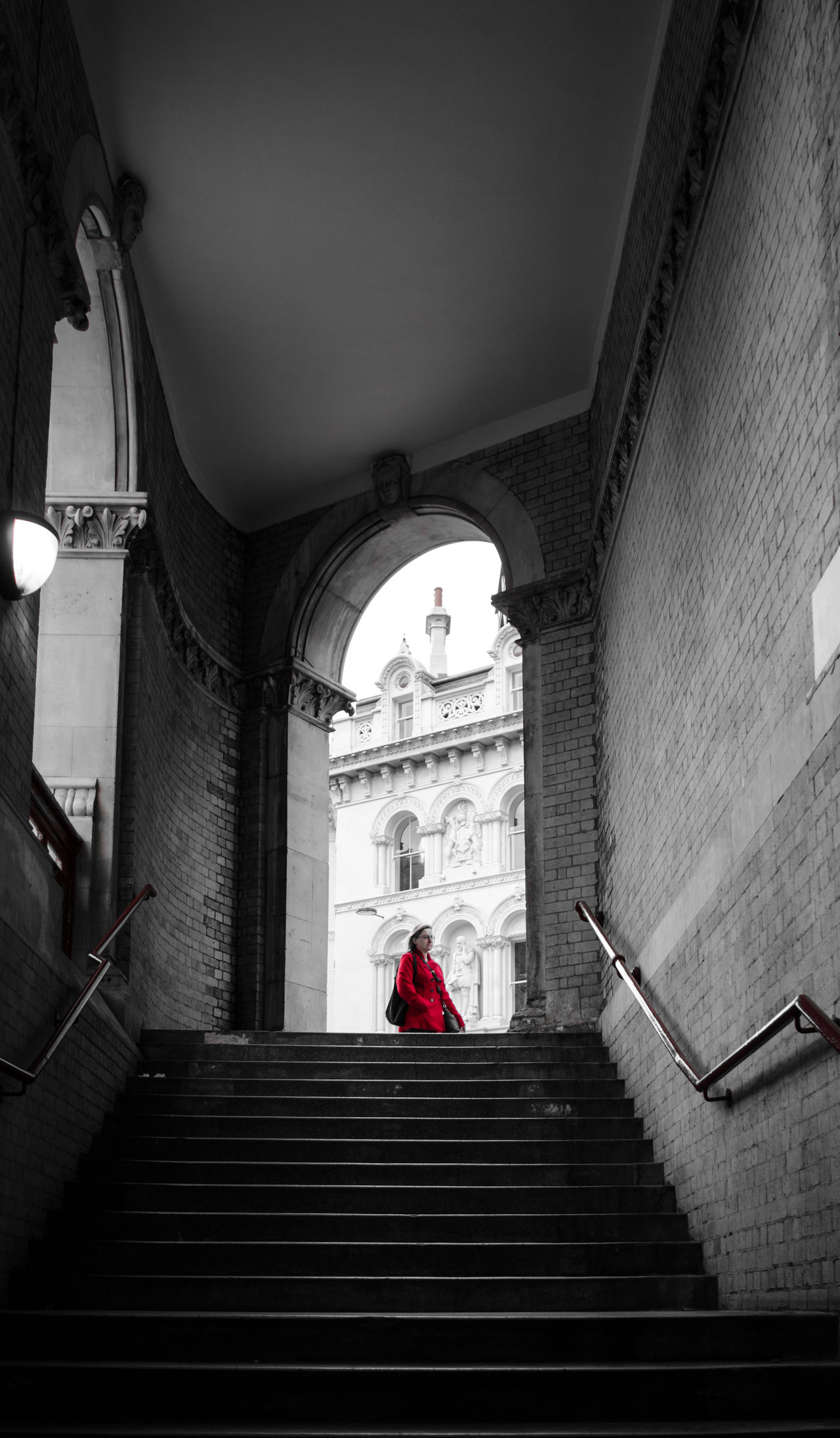 Arch Arched Architecture Building Exterior Built Structure Entrance Holborn Viaduct Incidental People London Low Angle View Moving Up Railing Red Staircase Stairs Steps Steps And Staircases The Way Forward