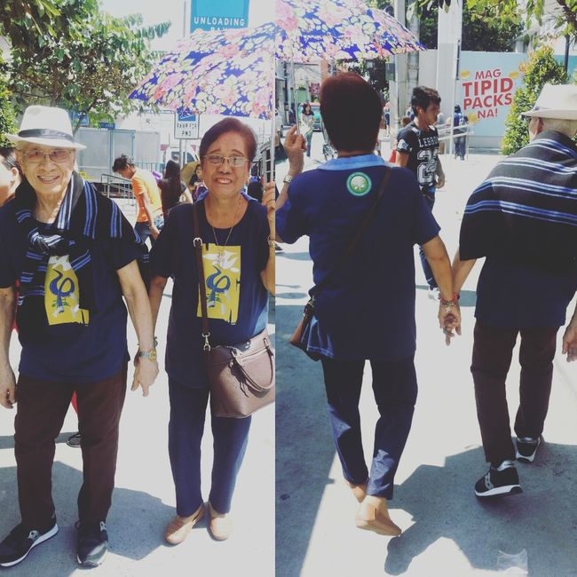 Beaituful old couple holding hands in a Pilgrimage jourey. Love is sweeter and true when God is around. :-) Place Of Worship Religion First Eyeem Photo Jesus God Architecture Culture Parish Church History Catholic Church Pampanga, Philippines Pilgrimage Church