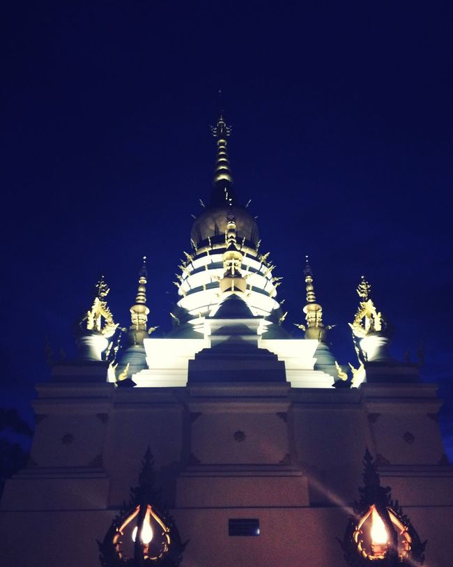 Dark Sky Thailand Thai Temple Blue Chiangrai