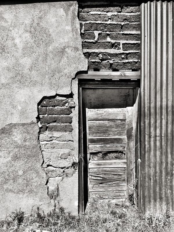 Architecture Built Structure Building Exterior Outdoors No People Day Close-up Door Brick Wall Stucco Decay Monochrome Photography Marfa Texas