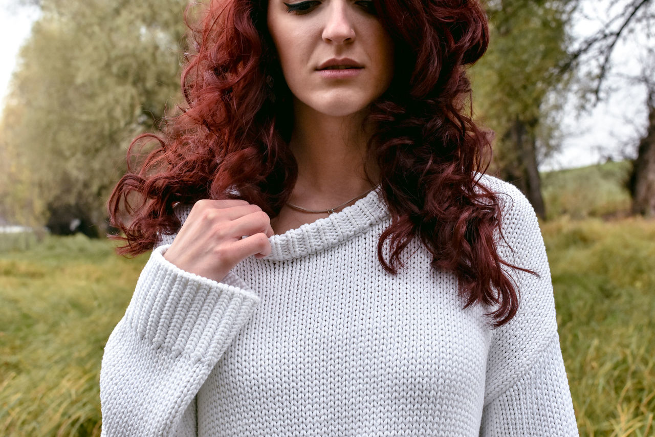 Beautiful Woman Close-up Day Long Hair One Person One Woman Only Outdoors Portrait Portrait Of A Woman Portraits Redhead Sweater Week On Eyeem Young Adult Young Women