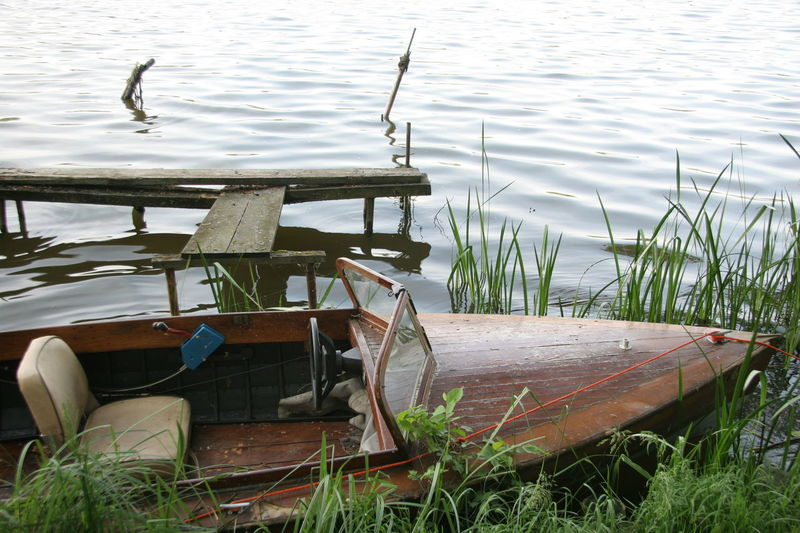 Boat Day Lake Nature No People Outdoors Stranded Tranquility Water Wood - Material