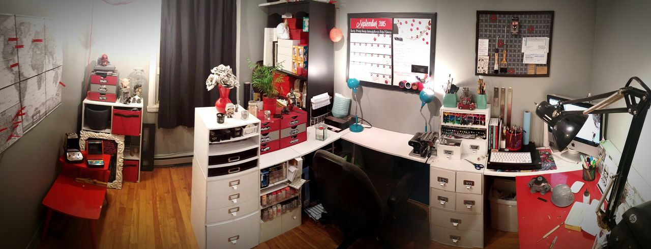 Desks From Above Art Studio Workshop Comfort Home Office Inspiration Art ArtWork Artist Red Special Place Getaway  Love My Job Home Sweet Home Work At Home Design Creation Ideas Sketches Sculpture Custom Work Etsy The Iron Cat Arts And Crafts Everything I Need