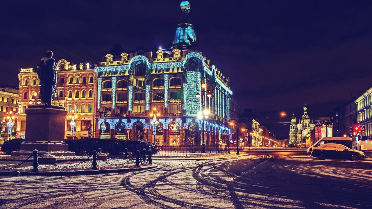 night, illuminated, architecture, building exterior, built structure, winter, snow, outdoors, cold temperature, travel destinations, sky, no people, city