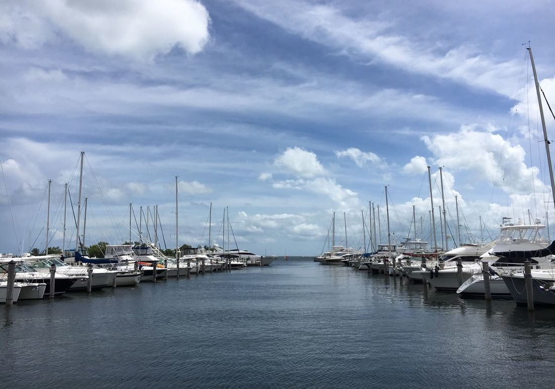 Yahts In The Harbor Sky Nautical Vessel Transportation Moored Cloud - Sky Mast Harbor Mode Of Transport Water Outdoors Sailboat No People Day Boat Sea Waterfront Scenics Beauty In Nature Tranquility Nature