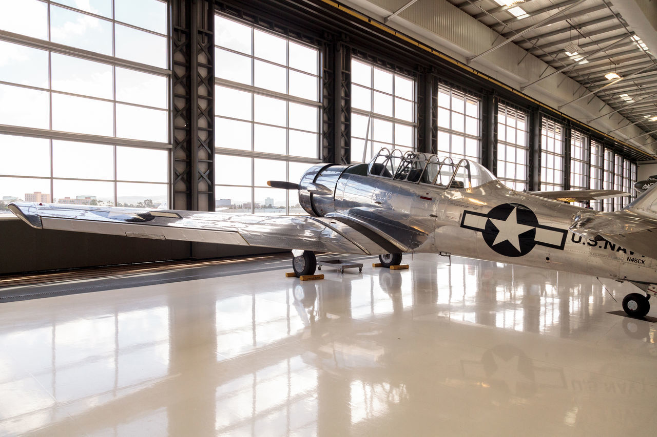 Santa Ana, CA, USA - January 21, 2017: North American AT-6 SNJ-6 displayed at the Lyon Air Museum in Santa Ana, California, United States. It was used during World War II. Editorial use only. Airplane AT-6 Indoors  Lyon Air Museum Military Military Airplane No People North America North American T6 Plane SNJ-6 World War World War II