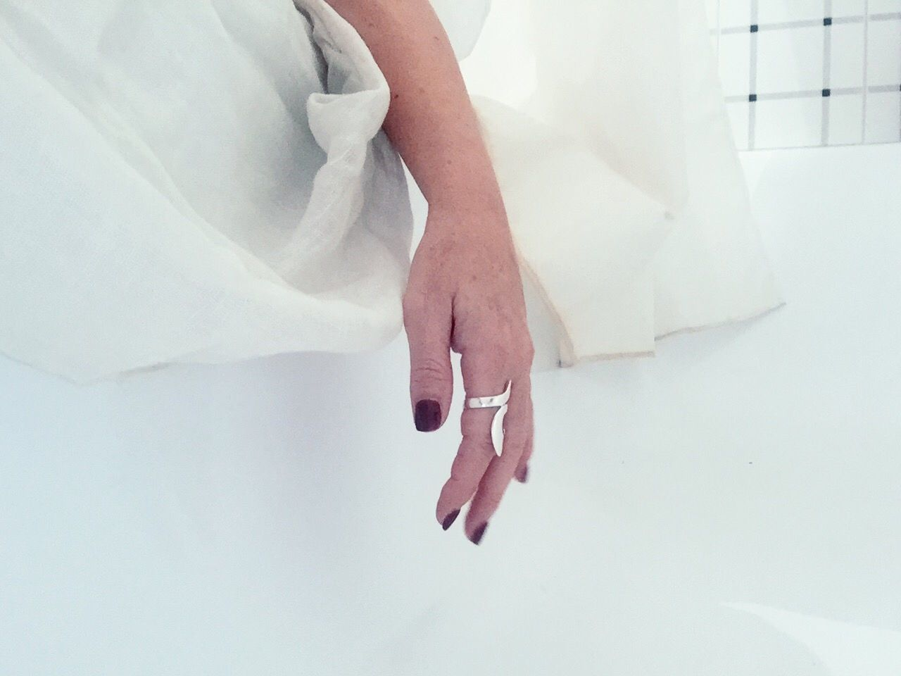 INAUDIBLE WHITE, UNSPOKEN AS A CLOUD; WHILE FROM THE SILENCE, A THIRST OF BREATH [series], by Claudia Ioan Real People Human Hand Lifestyles One Person Women Indoors  Close-up Human Body Part White Background VSCO Mobile Photography IPhoneography Iphone6 White Day