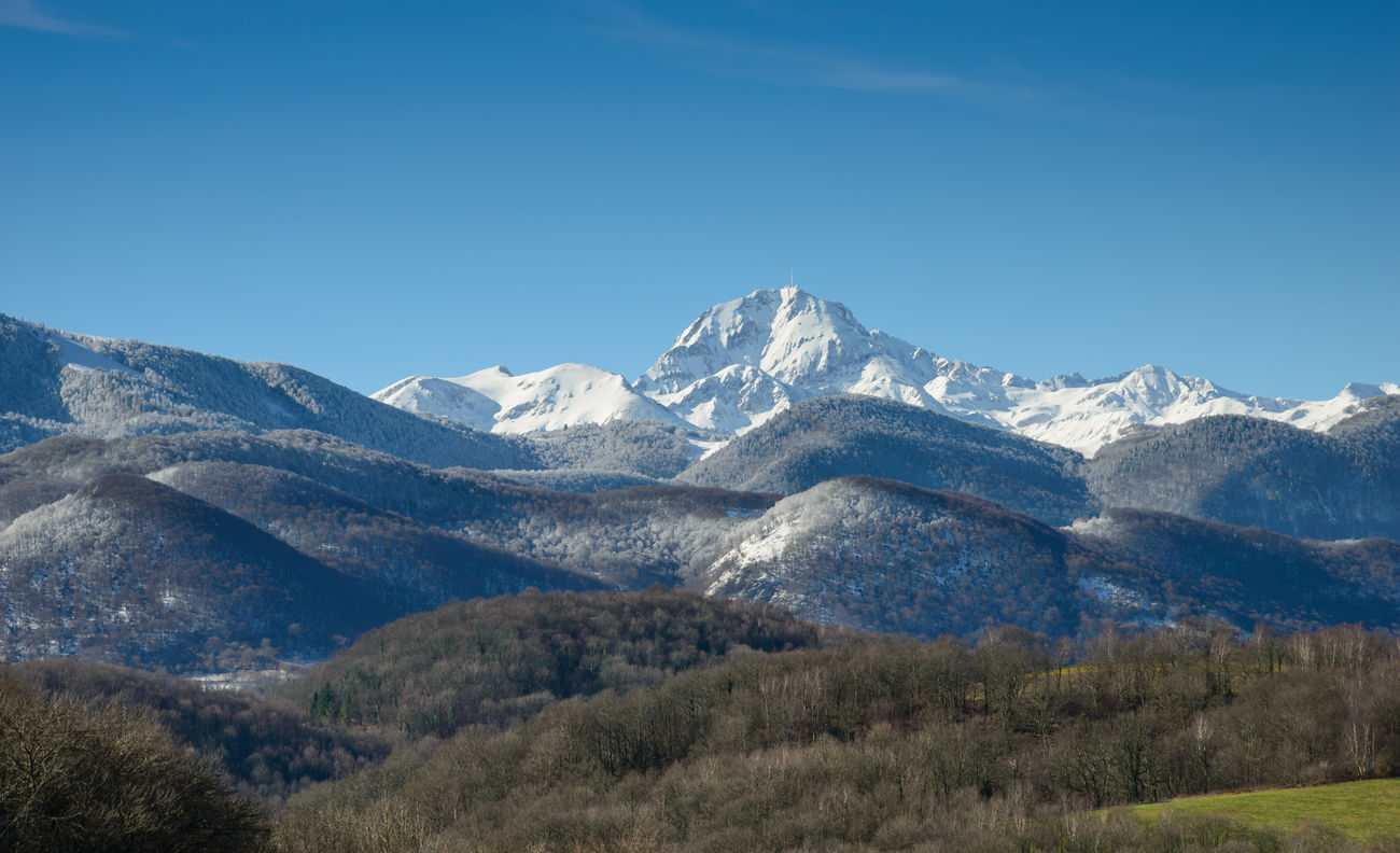 Pic du midi and pyrenees lanscape Beauty In Nature Clear Sky Cold Temperature Geology Landscape Majestic Midi-Pyrenees Mountain Mountain Range Nature Physical Geography Pic Du Midi Pyrenees Scenics Season  Snow Snowcapped Mountain Tourism Tranquil Scene Travel Destinations Tree Weather Winter