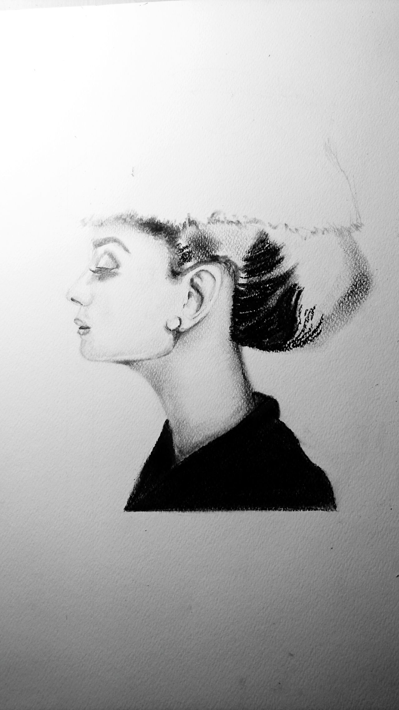 Only Women One Woman Only Depression - Sadness Adults Only One Person Indoors  Drawing - Art Product Black And White Sketch Work In Progress ArtWork Art Charocal Drawing Audrey Hepburn People Close-up Human Adult