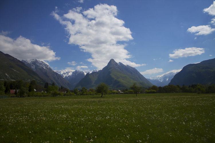 Blue Bovec Grass Green Mountain Mountains And Sky Primorska Slovenia