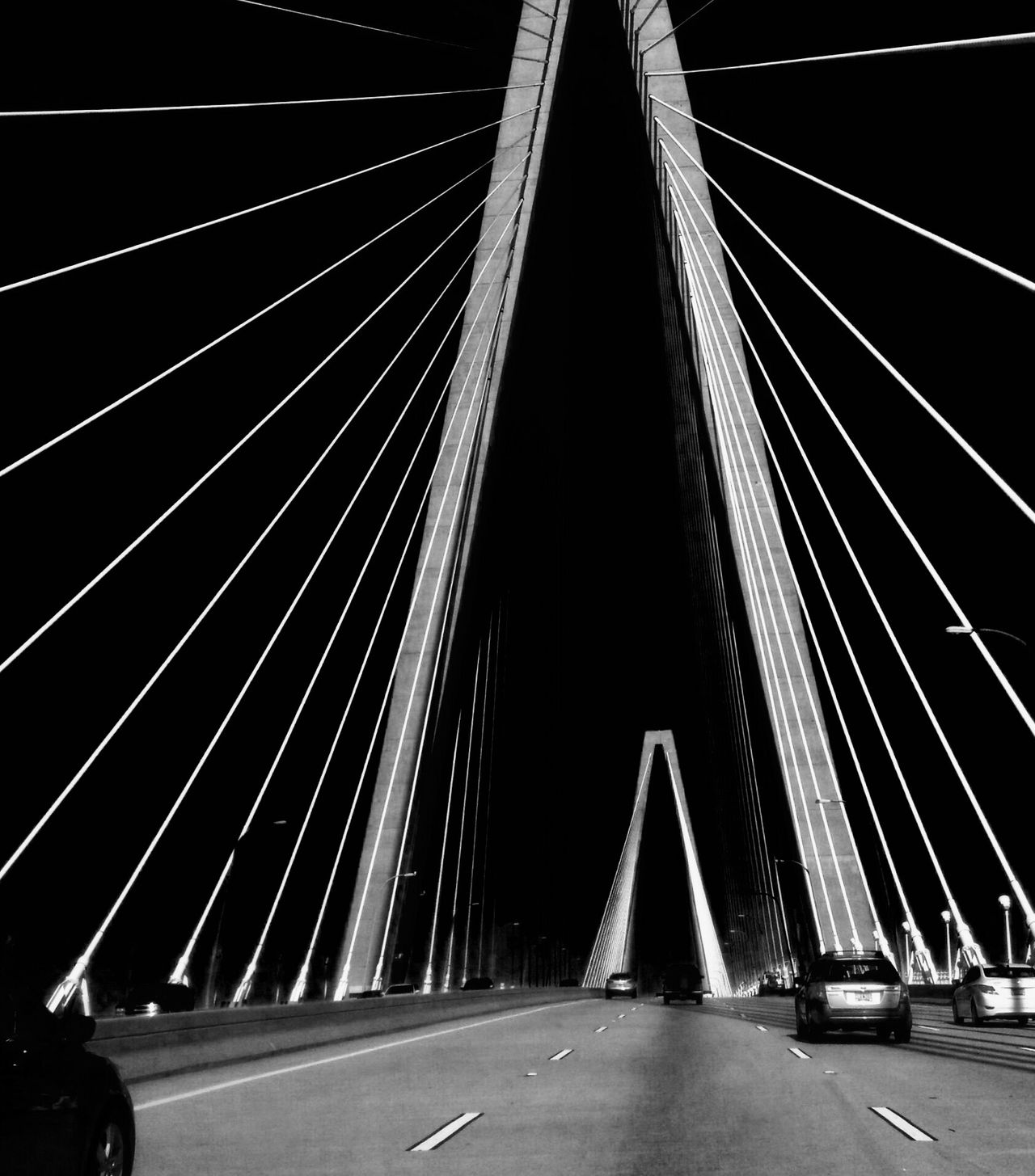 Bridge at night Bridge Bridge - Man Made Structure Bridge View Bridgesaroundtheworld Charleston Roadtrip Carefree Car Sharing Carpooling Drivebyphotography Car Travel Automobile Traveling Travel Destinations Traffic Arthur Ravenel Jr Bridge Construction Vehicle Photography Mode Of Transport