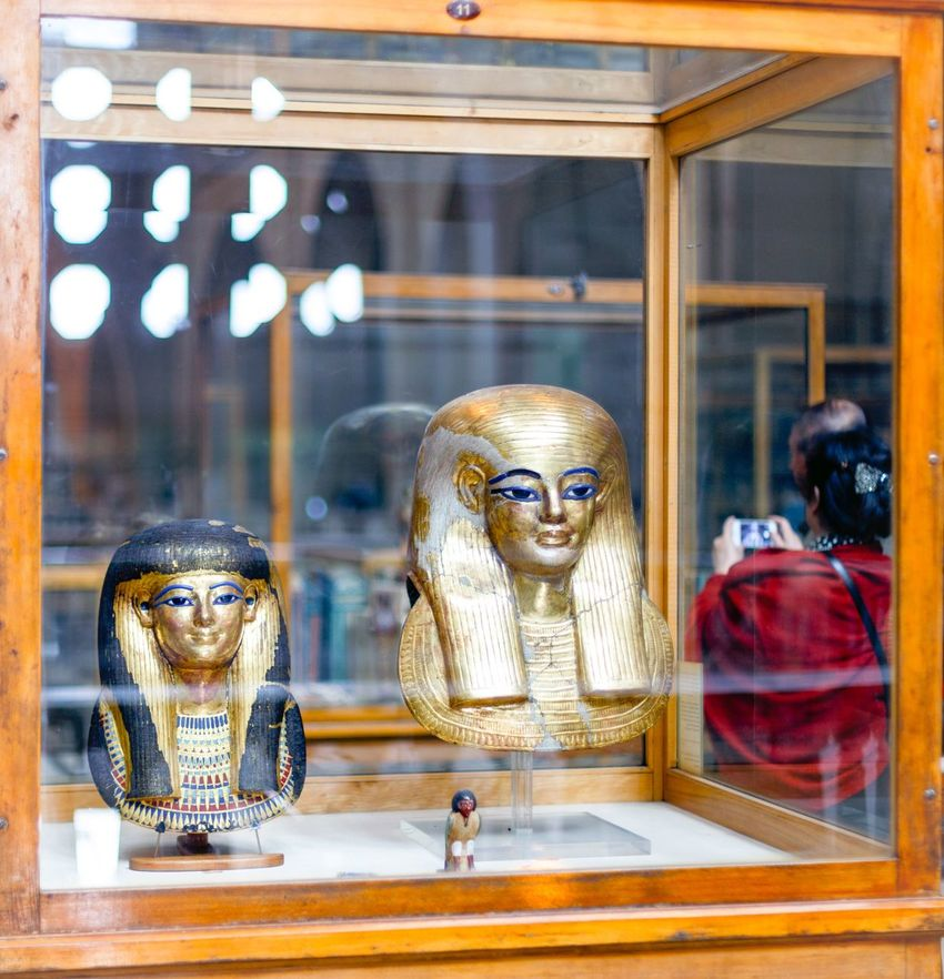 The Egyptian Museum in Cairo contains the world's most extensive collection of pharaonic antiquities; no visit to Egypt is complete without a trip through its galleries Close-up Egyptian Museum Egyptian Statue Egyptology Face Focus On Foreground Glass Golden Mask Historical Lifestyles Musk Pharaoh Pharaohs Portrait Show Room Statue Woman