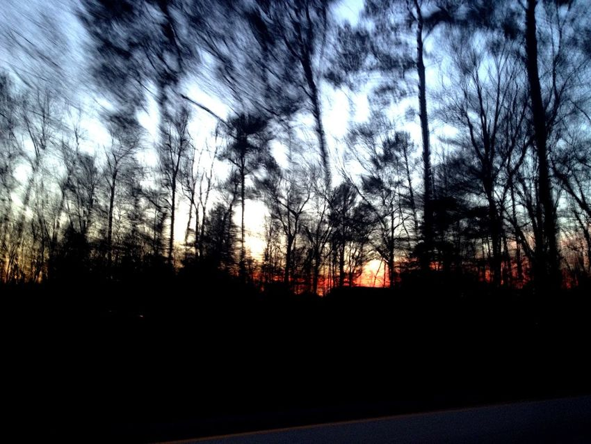 Driving Through Speed Motion Sunset