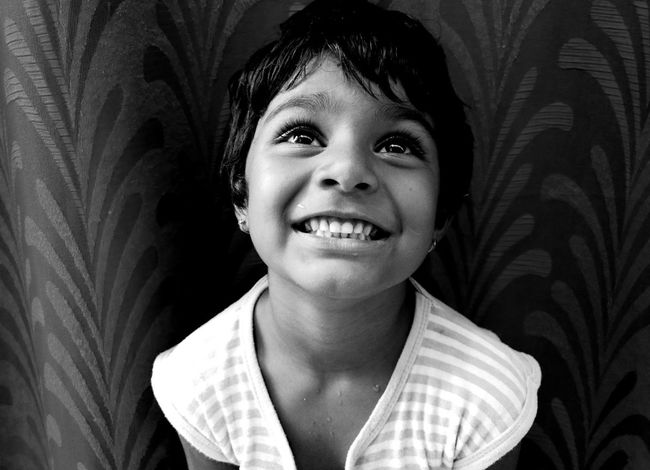 Shot with Moto G4 Plus...Plz do comment... Taking Photos Check This Out Cheese! Relaxing Mobile Photography Black And White Monochrome Black And White Photography Kids Portrait Kid Girl Smiles :) Happy Kiddo :)  Monochrome Photography