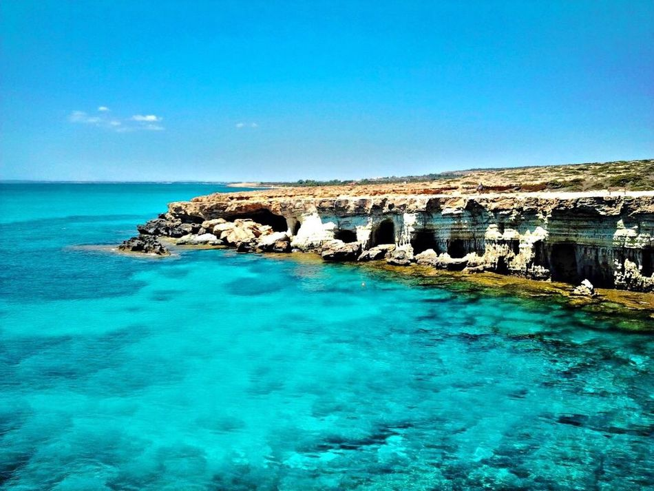 Cape Greco in Cyprus. Sea Blue Water Nature Beauty In Nature Scenics Tranquility Tranquil Scene Idyllic Day Sky No People Clear Sky Waterfront Outdoors Horizon Over Water Shades Of Blue IPhoneography Eye4photography  Cyprus Cape Greco Nature Beauty In Nature EyeEm Nature Lover