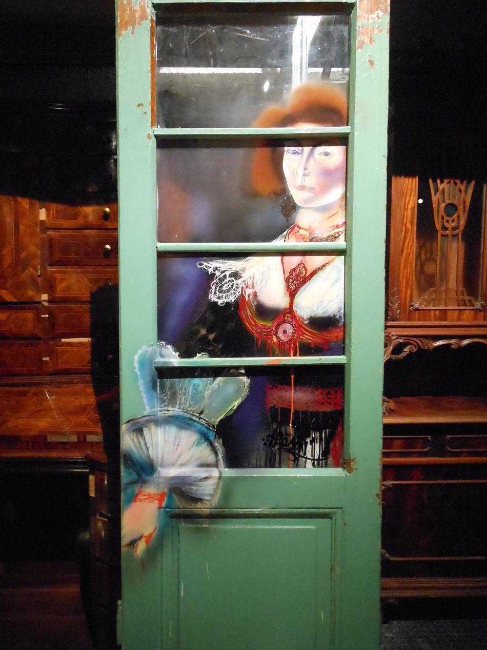 Craftsmanship  Decoration Door Furniture Indoors  Interior Views Opening The Door Painting On Glass Trompe-l'œil Woman Costume