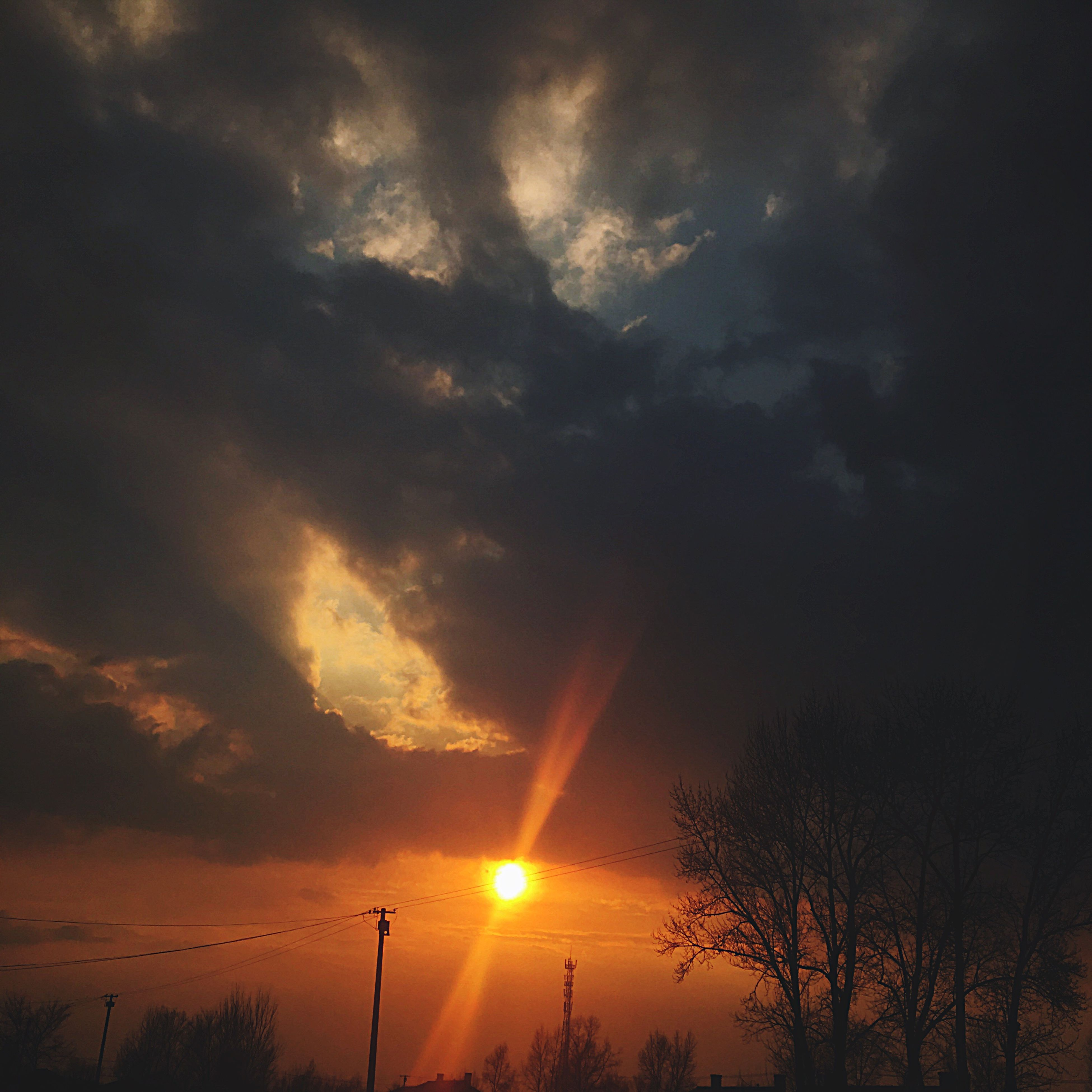 sunset, sky, nature, silhouette, beauty in nature, dramatic sky, scenics, no people, cloud - sky, tranquility, outdoors, tree, storm cloud, power in nature, star - space, night, galaxy, astronomy, aurora polaris