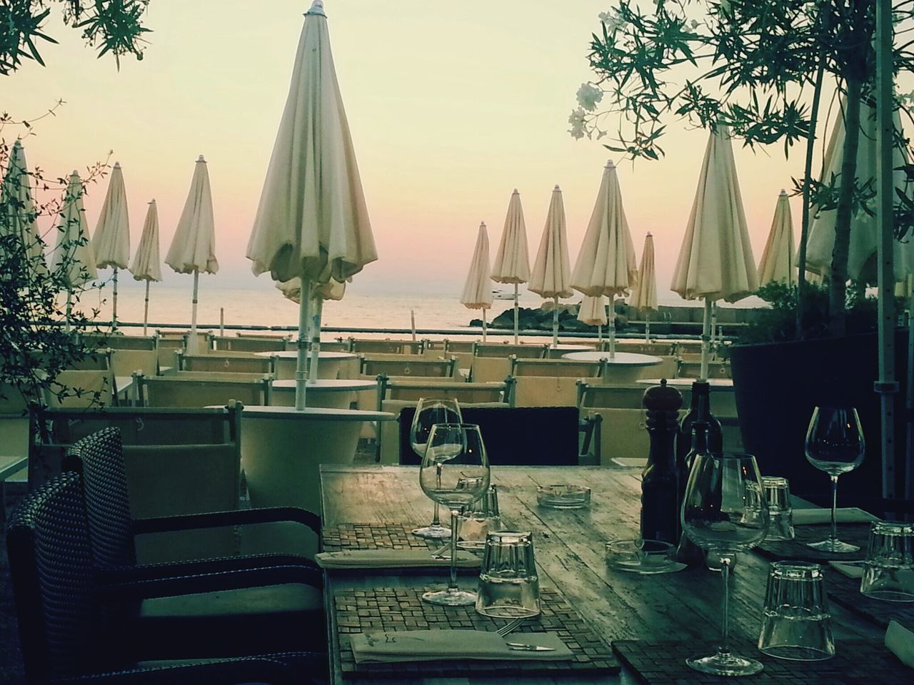 Beach Restaurant Empty Places No People Sunset Outdoors Sky Sea Unpopular Hour Monaco Larvotto Beach Miami Plage