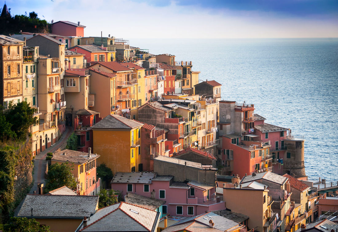 Architecture Built Structure Cinque Terre High Angle View Italy Manarola, Scenics Sea Travel Travel Photography