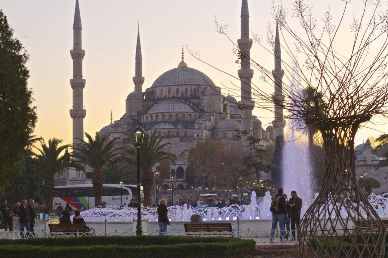 People At Blue Mosque Against Sky