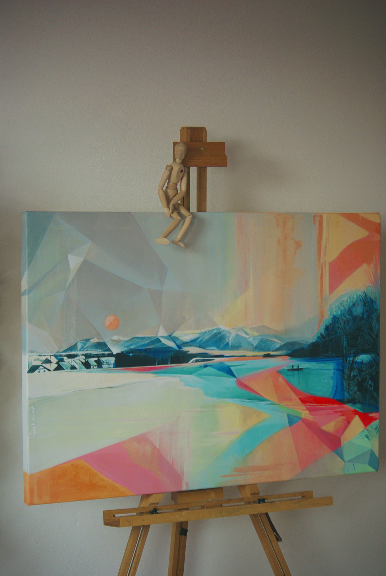 Abstract Landscape Acrylic Art ArtWork Display Easel Fine Art Painting Freshness Geometric Shapes Indoors  My Art, My Soul... My Artwork Painting Polygon lets meet on instagram too: @katkakacic