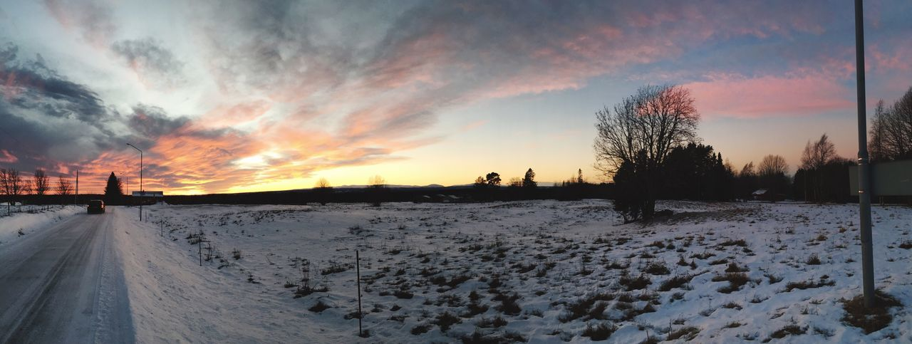 snow, winter, cold temperature, sunset, weather, nature, sky, cloud - sky, beauty in nature, scenics, outdoors, tranquil scene, tranquility, tree, no people, road, day