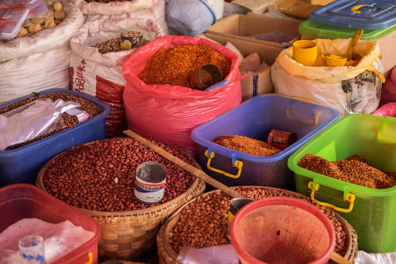 variation, spice, market stall, choice, retail, food, market, for sale, food and drink, sack, small business, no people, healthy eating, multi colored, outdoors, day, freshness