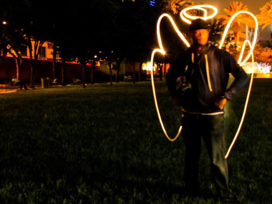 The Dark Angel Night Grass Tranquil Scene Outdoors Illuminated Park - Man Made Space Florida Park Late Light Lights