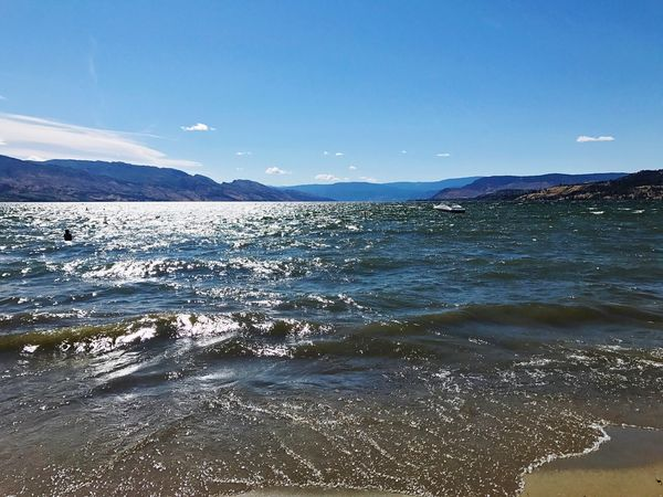 Sea Beauty In Nature Nature Scenics Tranquility Water Mountain Outdoors No People Tranquil Scene Wave Day Beach Blue Sky Clear Sky Summer Okanagan Valley Okanaganlake