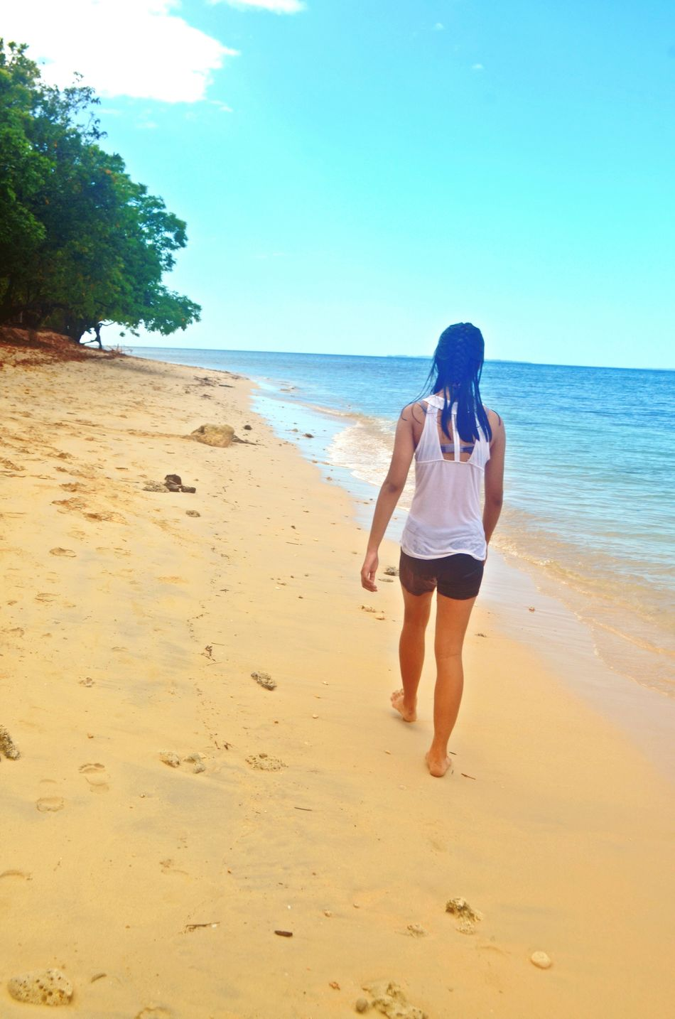 Feel The Journey Strollingonthebeach Girl Nature At The Island White Sand Beach Walking Clearwaterbeach Clear Blue Sky Lady Walking Fresh On Eyeem  Showcase June Roaming Around The Island Welcome Weekly People Together TakeoverContrast My Year My View