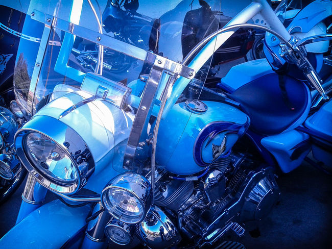 Blue Chrome Harley Davidson Harley-Davidson Manly  Motorcycle Motorcycle Dreams Reflections Transportation Windshield