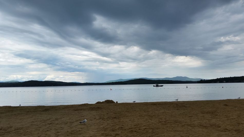 Beach Sand Water Landscape Mountain Cloud - Sky Dramatic Sky Beauty In Nature Scenics Tranquil Scene Coastline Travel Destinations Outdoors Vacations Horizon Over Water Tranquility New England  New Hampshire, USA New England  New Hampshire Lake Summer Sunset Evening Sky Stormy Sky