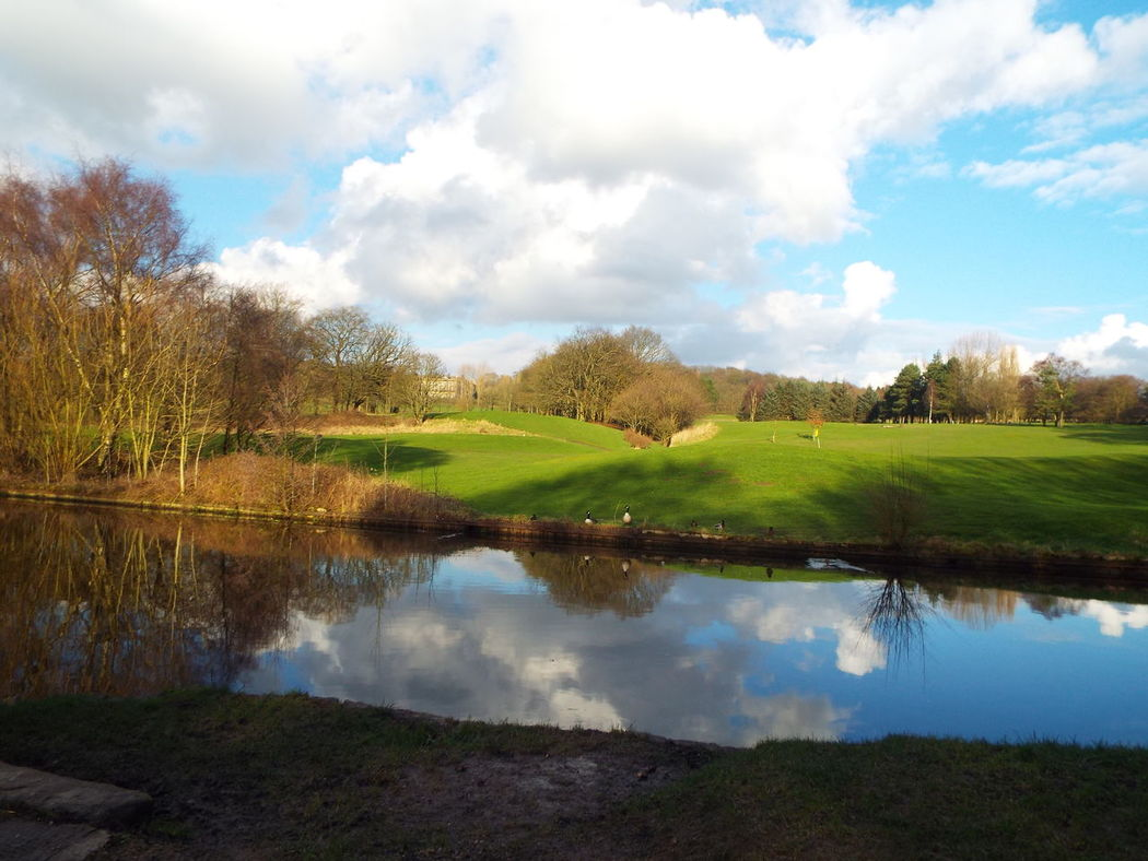 View of Haigh Hall 18 hole golf course on the other side of the canal Haigh Hall Wigan United Kingdom Water Reflection Golf Course Canal
