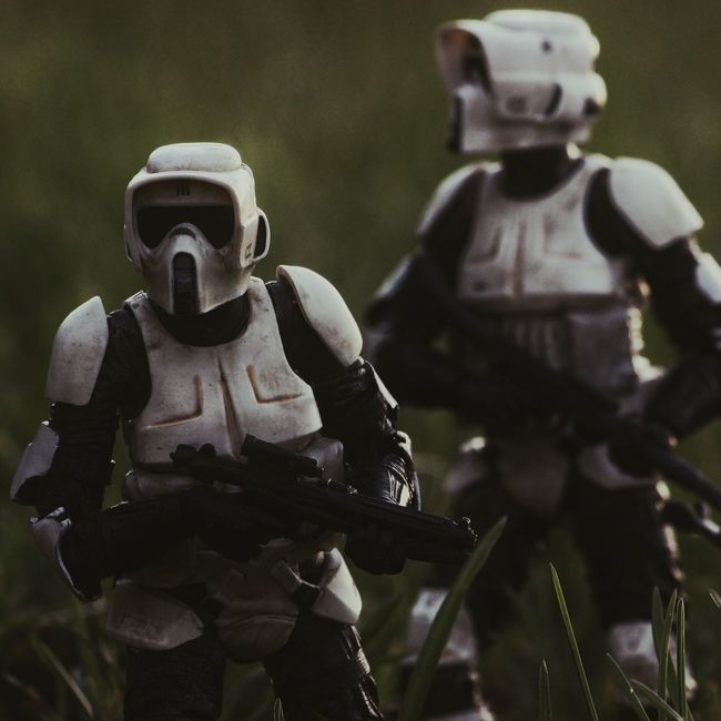 """This is one of the oldest shots in my """"Insta Inventory"""" folder on my phone. I said it in my interview with toptoyphotos on IG, but I'll say it again; Scout Troopers are my absolute favorites in Star Wars. While I LOVE the Clones and Stormtroopers, scouts hold a very special place in my heart...maybe because I would bike through the forest in my backyard when I was a little kid pretending to be one (not hitting the trees on purpose, of course 😉). Anyways, I hope you like it! If I remember correctly I took this shot at my old elementary school early last summer...where my Star Wars obsession really took off StaStar WarsoScouttrooperoStormtrooper"""