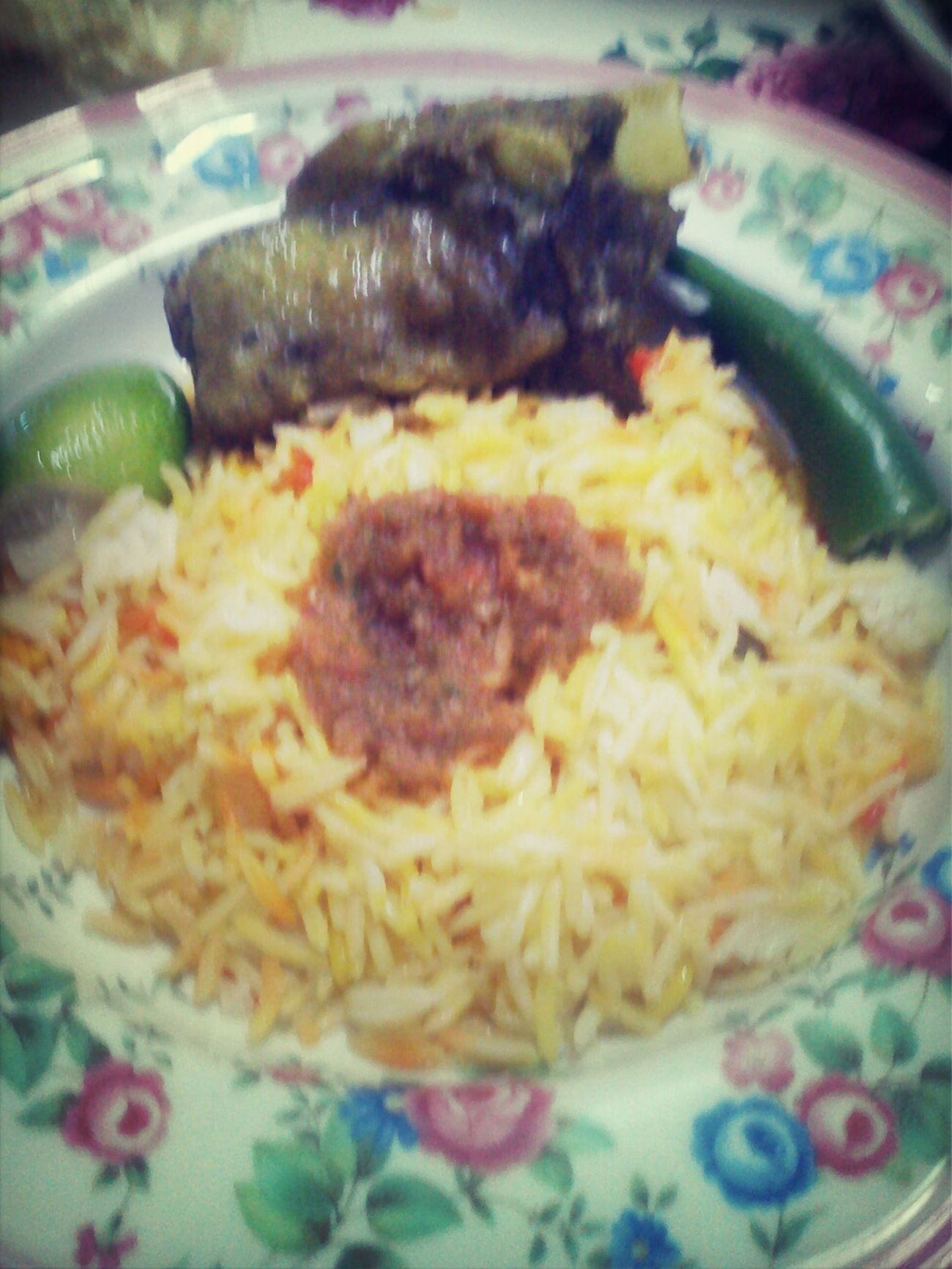 Nasi Arab. Basmathi rice with green chili, spicy sauce & lamb. In My Mouf Foodporn Enjoying A Meal Ilovefood