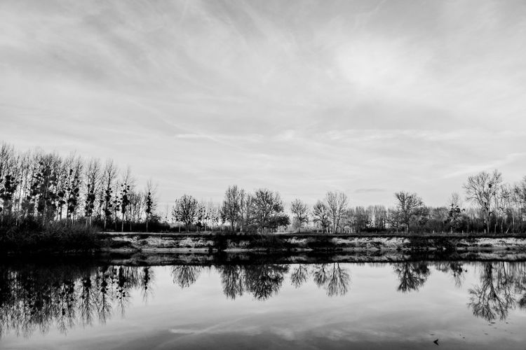 Black and white lake reflection Black & White Country Tree Beauty In Nature Black And White Blackandwhite Countryside Day Europe Idyllic Lake Landscape Nature No People Outdoors Peaceful Reflection Scenics Sky Still Tranquil Scene Tranquility Travel Destinations Tree Water