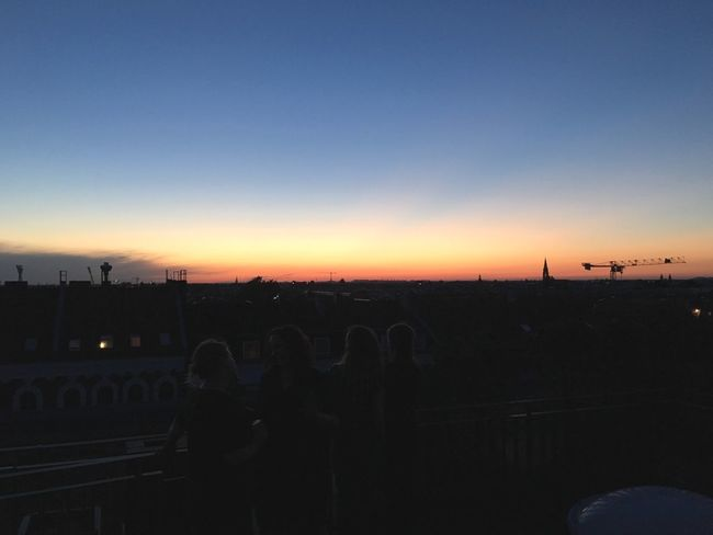 Rooftop People Friends Berlin Terrace City Sundown Sky