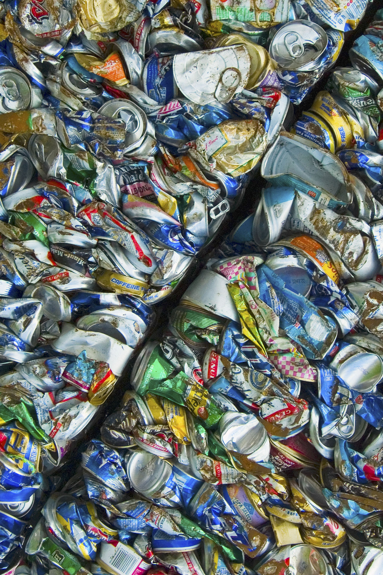 Crushed aluminum and tin cans in two bales, waiting to be recycled. Aluminum Aluminum Can Art Backgrounds Close-up Collection Colorful Deposit Diagonal Large Group Of Objects Multi Colored No People Pattern Recycle Recycling Repetition Retail  Soda Variation