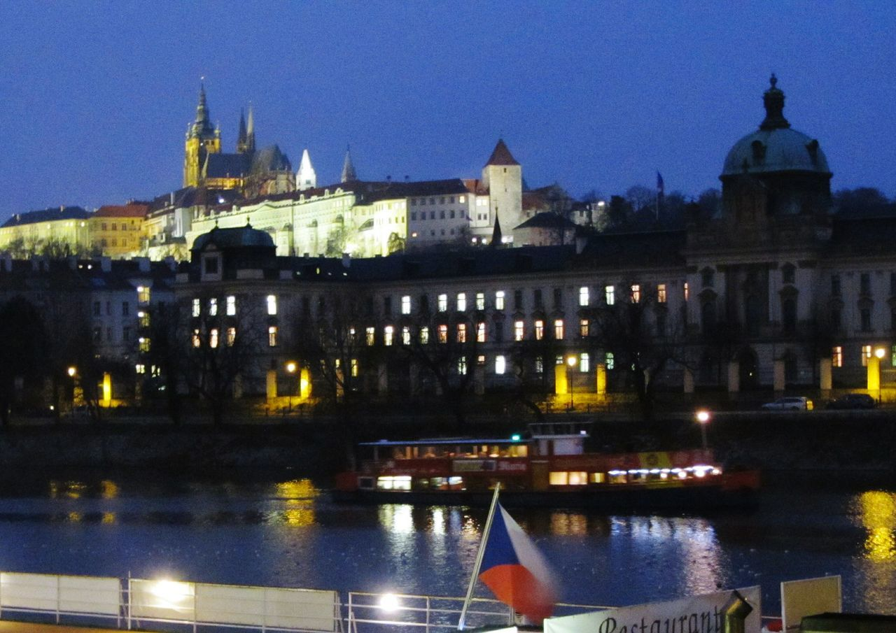 Prague Night Photography Hand Held Blurred Across The River VltavaRiver Vltava Prague Castle (Pražský Hrad) By Night Restaurant Boat On The River Czech Flag